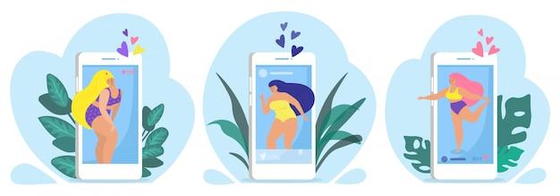 Körperpositive frauen mögen illustration. glückliches mädchenlächeln auf porträt. mode übergewicht gesunder lebensstil konzept. erfolg weiblich machen coole fitness. person mit schöner figur in den sozialen medien.