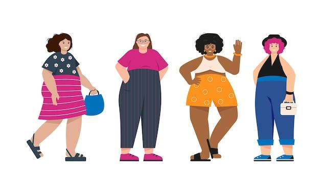 Körperpositive, glückliche frauen oder mädchen in trendiger sommerkleidung