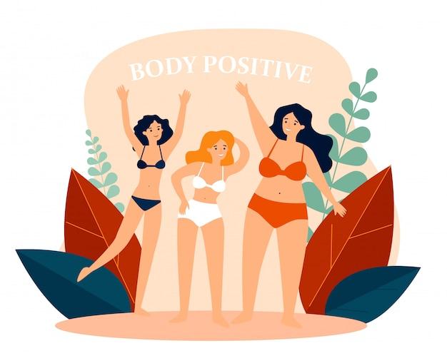 Körperpositive weibliche charaktere im bikini winken mit den händen