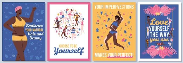 Körperpositiver kartensatz mit slogans und flacher illustration der frauen