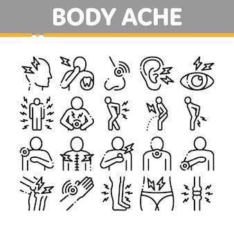 Körperschmerzen sammlung elemente icons set