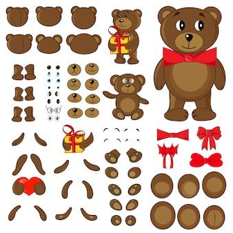 Körperteile eines bären im vektor