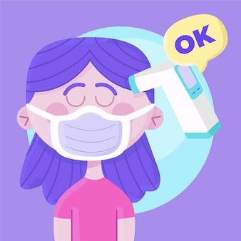 Körpertemperaturprüfung ok konzept