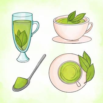 Köstliche arten von grünem matcha-essen