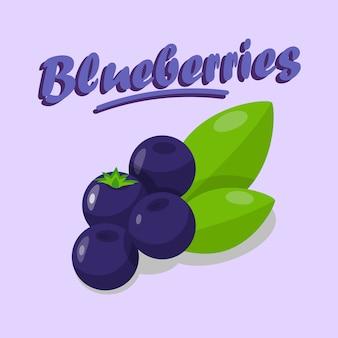 Köstliche blaubeer-karikatur-social media-fahne