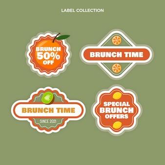 Köstliche brunch-etikettenkollektion im flachen design