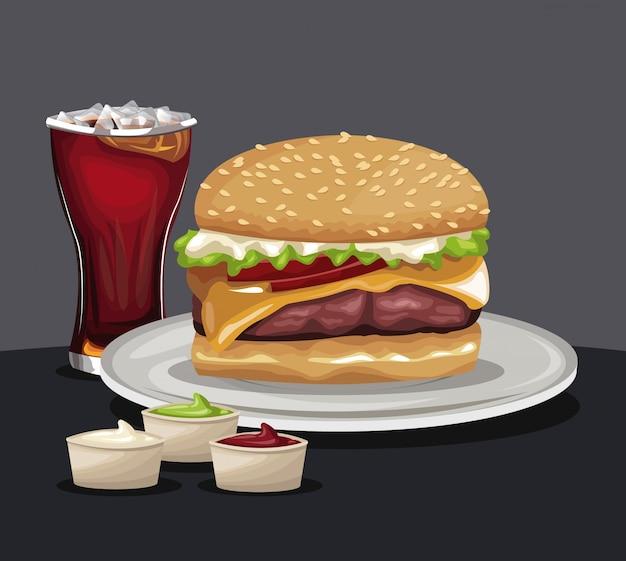 Köstliche burger soda kalte soßen fast food essen