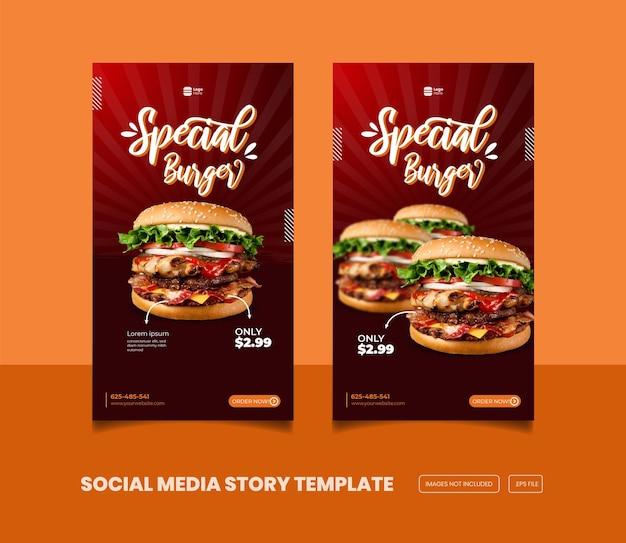 Köstliche burger- und essensmenü-instagram- und facebook-story-vorlage premium-eps