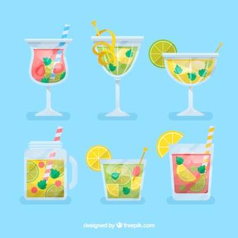 Köstliche cocktails sammlung in flachen stil