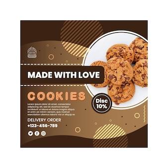 Köstliche cookies im quadrat flyer vorlage