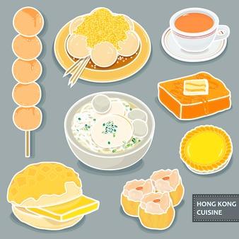 Köstliche dessertkollektionen aus hongkong im flachen stil
