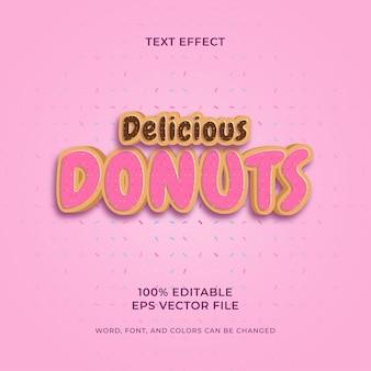 Köstliche donuts bearbeitbarer texteffekt premium-vektor