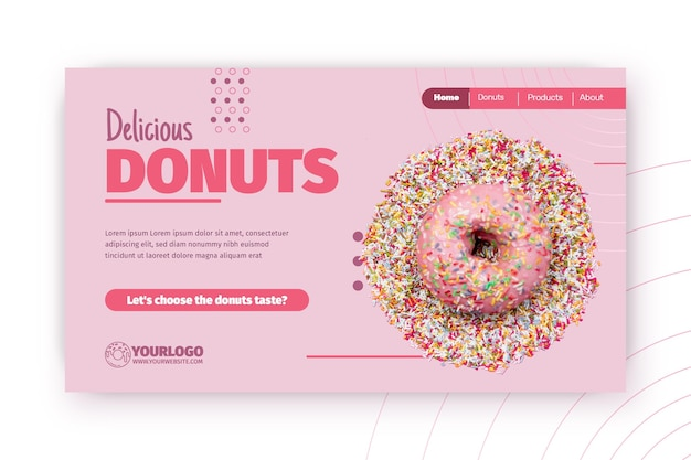Köstliche donuts landingpage vorlage
