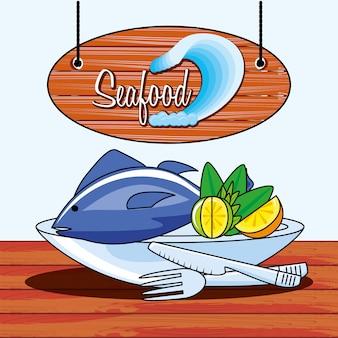 Köstliche fischmeeresfrüchte mit zitrone