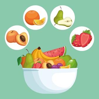 Köstliche früchte in der schüsselkarikatur