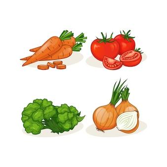 Köstliche gemüsevektorillustration