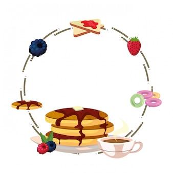 Köstliche geschmackvolle frühstücksrahmenkarikatur