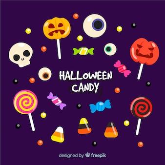 Köstliche halloween süßigkeiten sammlung