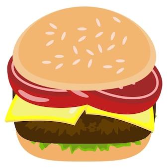 Köstliche hamburger-elementerstellung lebensmittelillustrations-grafikdesign