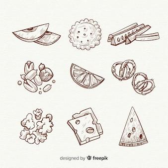 Köstliche hand gezeichnete snack-sammlung