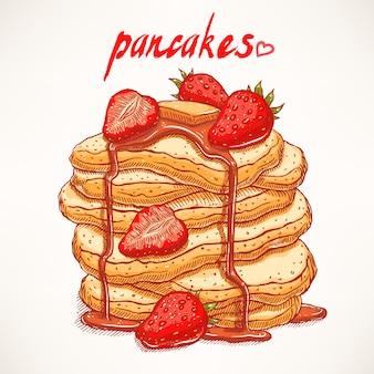 Köstliche handgezeichnete pfannkuchen mit erdbeeren und ahornsirup