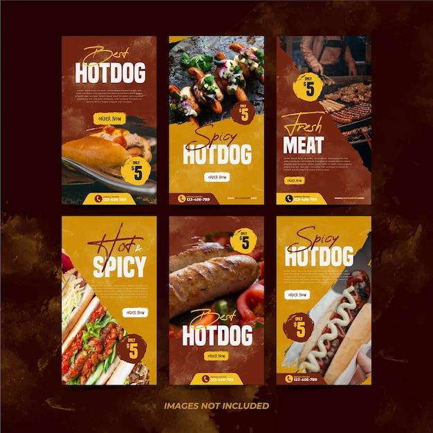 Köstliche hotdog instagram-vorlage für social media-werbevorlage