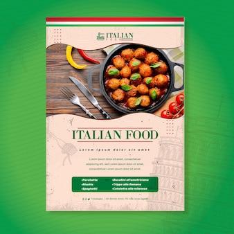 Köstliche italienische nahrungsmittelfliegerdruckvorlage