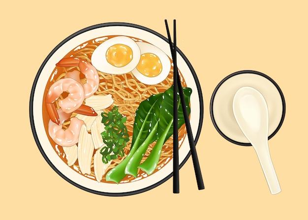Köstliche japanische ramen-nudel-cartoon-illustration von oben