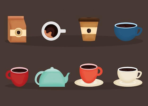 Köstliche kaffee- und teezeitikonen