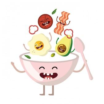 Köstliche kawaii frühstückskarikatur
