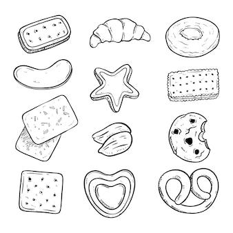 Köstliche kekssammlung mit skizzenart