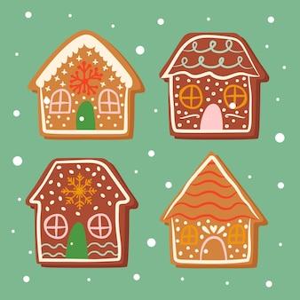 Köstliche lebkuchenhausdesigne für die süße weihnachtshand gezeichnet