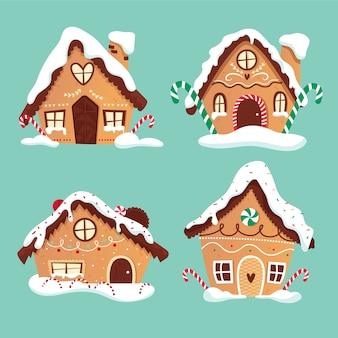 Köstliche lebkuchenhausdesigne für süßen weihnachtsnachtisch