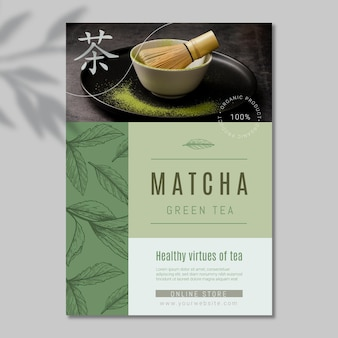 Köstliche matcha-teeplakatschablone