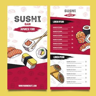 Köstliche menüvorlage des sushi-restaurants
