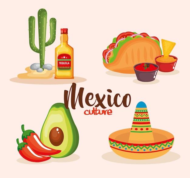 Köstliche mexikanische essen icons