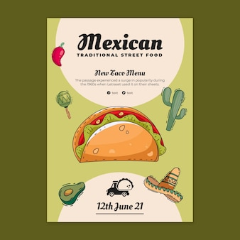 Köstliche mexikanische essensplakatvorlage