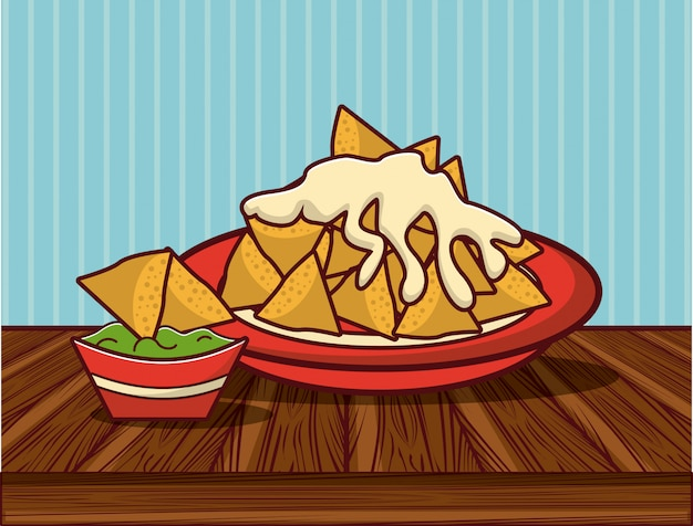 Köstliche mexikanische lebensmittelgastronomiekarikaturen