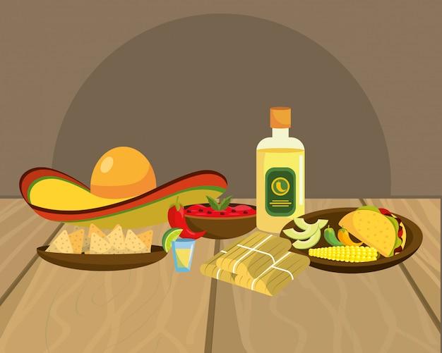 Köstliche mexikanische lebensmittelkarikatur auf restauranttabelle
