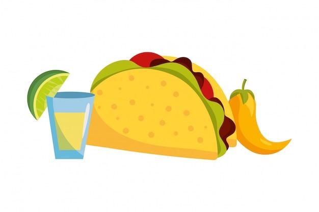 Köstliche mexikanische lebensmittelkarikatur