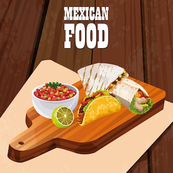 Köstliche mexikanische lebensmittelplakatikonen