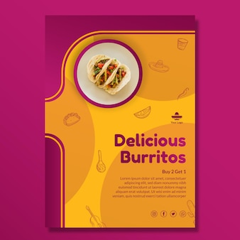 Köstliche mexikanische lebensmittelplakatschablone