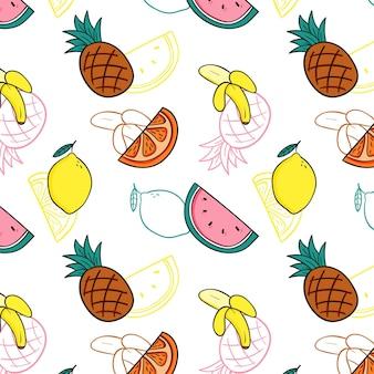 Köstliche mischung der fruchtmusterschablone