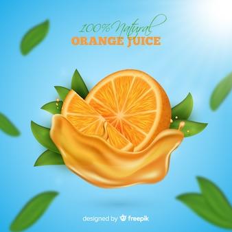 Köstliche orangensaftanzeige