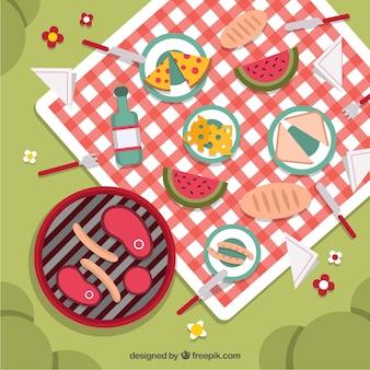 Köstliche picknick und grill im park
