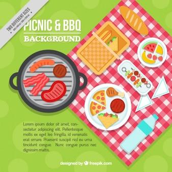 Köstliche picknick und grill in flachen design-hintergrund