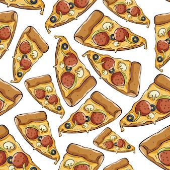 Köstliche pizzascheibe im nahtlosen muster