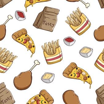 Köstliche pizzascheibe pommes-frites und hühnerbein im nahtlosen muster