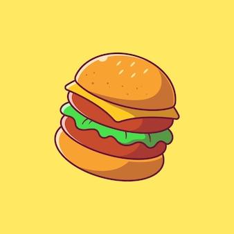 Köstliche saftige hamburger-illustration. hamburger essen symbol konzept isoliert.