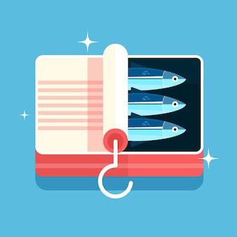 Köstliche sardinenillustration des flachen designs